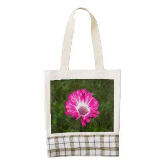 Pink & White Gerbera Daisy in Bloom Zazzle HEART Tote Bag