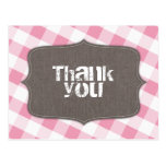 Pink & White Gingham Canvas Thank You Postcards