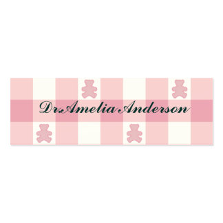 Pink white gingham, Kawai teddybears,trendy,girly, Double-Sided Mini Business Cards (Pack Of 20)