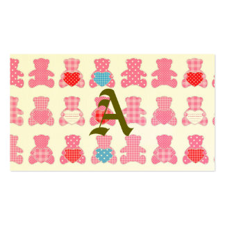 Pink white gingham, Kawai teddybears,trendy,girly, Double-Sided Standard Business Cards (Pack Of 100)