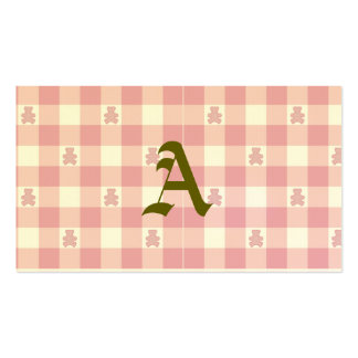 Pink white gingham, Kawai teddybears,trendy,girly Double-Sided Standard Business Cards (Pack Of 100)