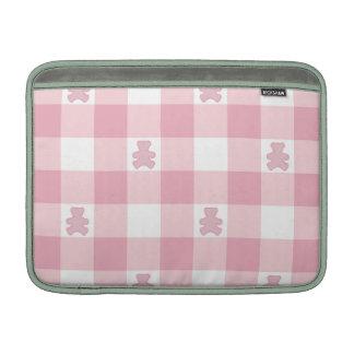 Pink white gingham, Kawai teddybears,trendy,girly MacBook Air Sleeves