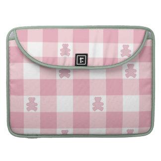 Pink white gingham, Kawai teddybears,trendy,girly Sleeves For MacBook Pro