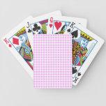 Pink White Gingham Pattern Bicycle Card Decks