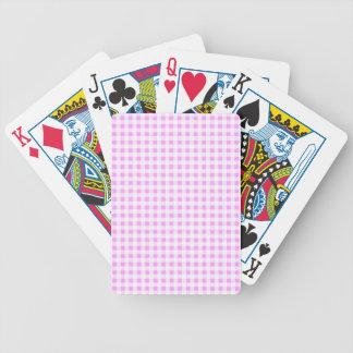 Pink White Gingham Pattern Bicycle Playing Cards