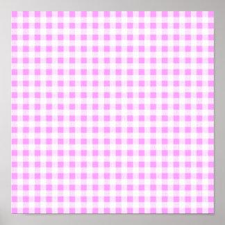 Pink White Gingham Pattern Print