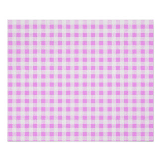 Pink White Gingham Pattern Poster
