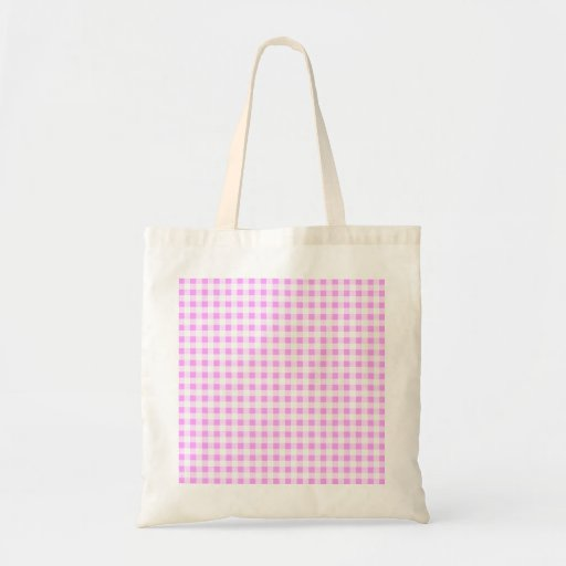 Pink White Gingham Pattern Tote Bags