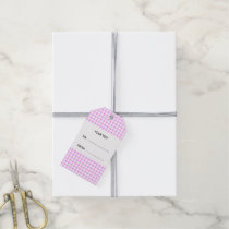 Pink White Gingham Pattern, Your Monogram Gift Tags