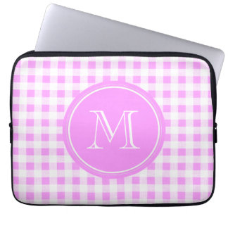 Pink White Gingham Pattern, Your Monogram Laptop Sleeve