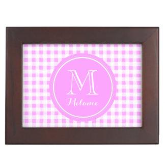 Pink White Gingham Pattern, Your Monogram Memory Box