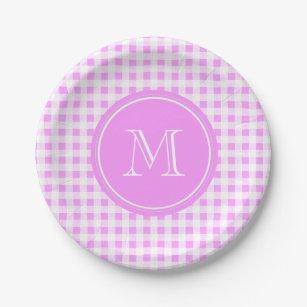Pink White Gingham Pattern Your Monogram Paper Plate  sc 1 st  Zazzle & Pink Gingham Monogram Plates | Zazzle