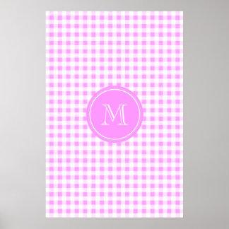 Pink White Gingham Pattern, Your Monogram Poster