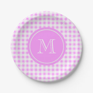 Pink White Gingham Pattern, Your Monogram 7 Inch Paper Plate