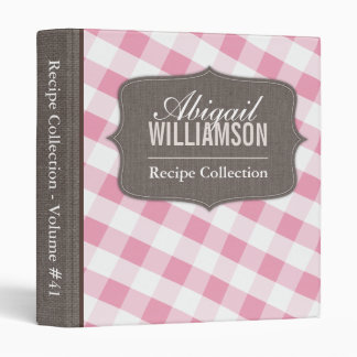 Pink & White Gingham Southern Recipe Binder