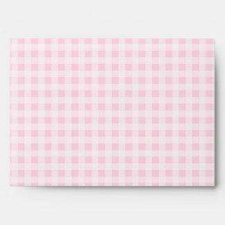 Pink White Gingham Wedding Envelope