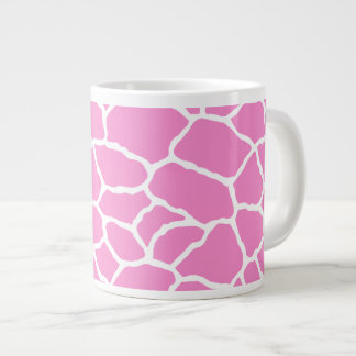 Pink White Giraffe Skin Pattern Jumbo Mug