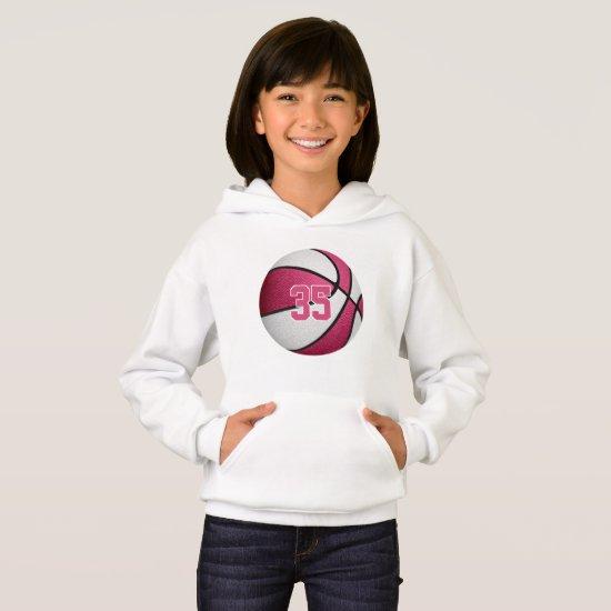 pink white girls jersey number basketball hoodie