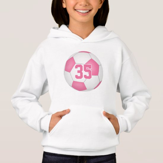 pink white girl's jersey number soccer hoodie