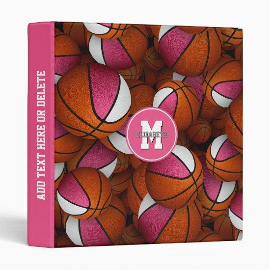 pink white girly basketballs pattern monogrammed 3 ring binder