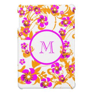 Pink white girly monogram iPad mini cover
