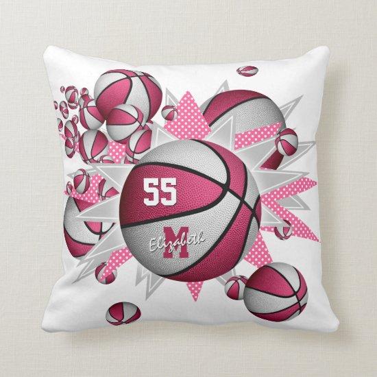 pink white girly sports decor basketball blowout throw pillow