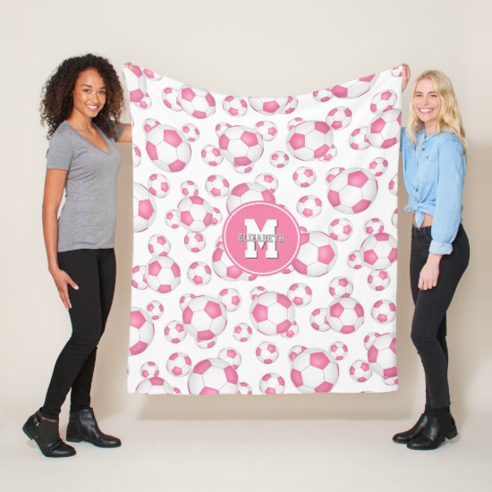 pink white girly sports soccer balls pattern fleece blanket