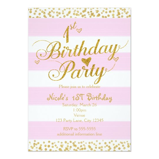 Pink White Gold 1st BIRTHDAY PARTY Invitations