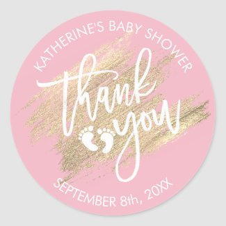 Pink White Gold Brush Stroke Baby Shower