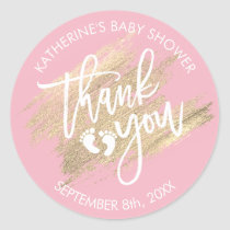 Pink White Gold Brush Stroke Baby Shower Classic Round Sticker