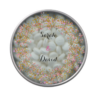 Pink White Gold Confetti Design Candy Tins