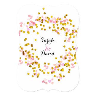 Pink White Gold Confetti Design Card