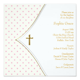 Pink White Gold Cross Baby Girl Christening Personalized Invitations