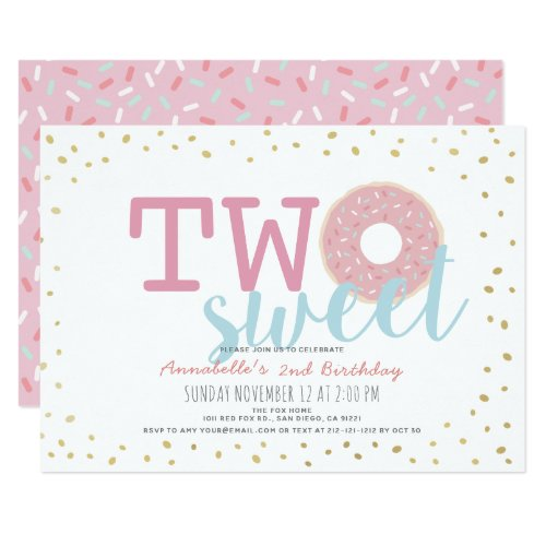 Pink White Gold Donut Two Sweet Girl 2nd Birthday Invitation