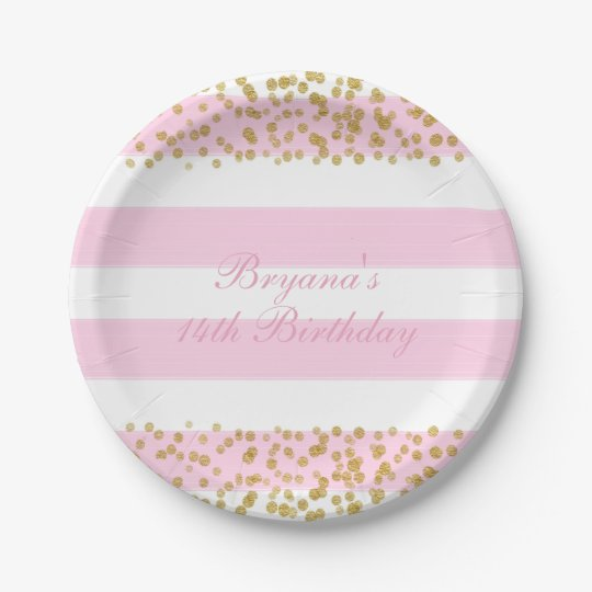 Pink White u0026 Gold Faux Confetti Party Paper Plates  sc 1 st  Zazzle & Pink White u0026 Gold Faux Confetti Party Paper Plates | Zazzle.com