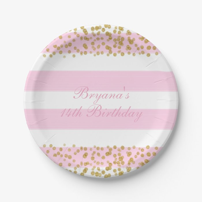 pink white gold faux confetti party paper plates zazzle. Black Bedroom Furniture Sets. Home Design Ideas