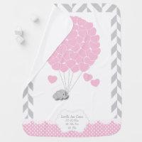 Pink, White Gray Elephant Baby Girl Stroller Blanket