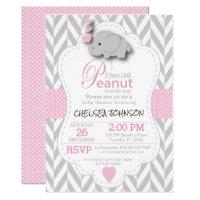 Pink elephant baby shower invitations announcements zazzle pink white gray elephant baby shower 2 filmwisefo Gallery