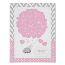 Pink, White Gray Elephant Baby Shower 2 - Guest Poster