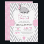 """Pink, White Gray Elephant &#128024; Baby Shower 2 Invitation<br><div class=""""desc"""">Baby Shower &#129328; Invitation. Featuring a gray chevron pattern with pink and white polka dots and a cute adorable cartoon baby girl &#128024; elephant. Impress your guest with this darling invitation. This Product is 100% Customizable. 99% of my designs in my store are done in layers. This makes it easy...</div>"""