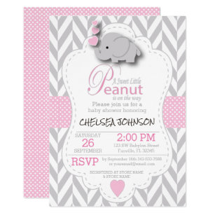 Elephant baby shower invitations zazzle pink white gray elephant baby shower 2 invitation filmwisefo