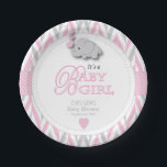 "Pink, White Gray Elephant Baby Shower 2 Paper Plate<br><div class=""desc"">Baby Shower paper plates. 100% Customizable. Ready to Fill in the box(es) or Click on the CUSTOMIZE button to add, move, delete, resize or change any of the font or graphics. Made with high resolution vector and/or digital graphics for a professional print. NOTE: (THIS IS A PRINT. All zazzle product...</div>"