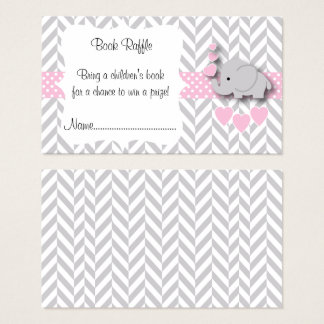 Pink, White Gray Elephant Baby Shower Book Raffle Business Card