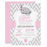 Pink, White Gray Elephant Baby Shower Card at Zazzle