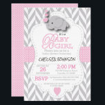 """Pink, White Gray Elephant Baby Shower Card<br><div class=""""desc"""">***** 5 Star Review ***** Baby Shower Invitation. Featuring a gray chevron pattern with pink and white polka dots and a cute adorable cartoon baby girl elephant. Impress your guest with this darling invitation. Lots of matching products available. 100% Customizable. Ready to Fill in the box(es) or Click on the...</div>"""