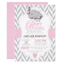 Pink, White Gray Elephant Baby Shower Card