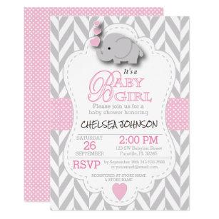 Elephant baby shower invitations zazzle pink white gray elephant baby shower card filmwisefo