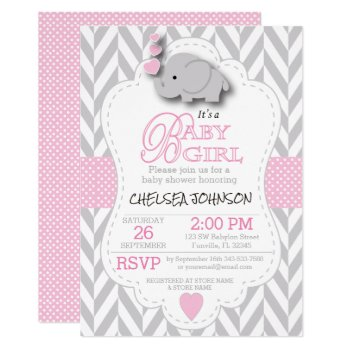 Pink  White Gray Elephant Baby Shower Card by DesignsbyDonnaSiggy at Zazzle