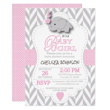 DesignsbyDonnaSiggy Pink, White Gray Elephant Baby Shower Card