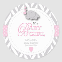 Pink, White Gray Elephant Baby Shower Classic Round Sticker